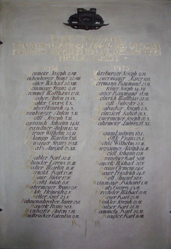 Gedenktafel in der Hl. Geist Kirche